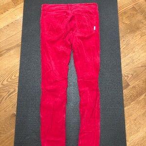 MOTHER red velvet mid rise skinny  jeans